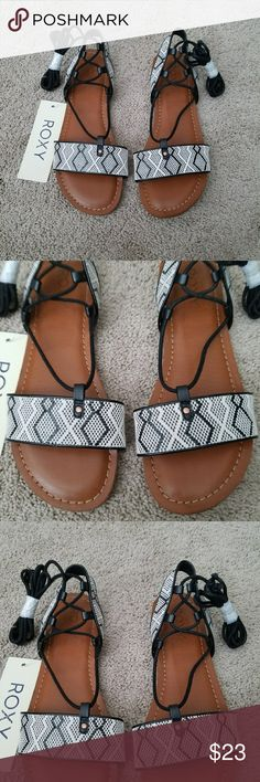 Roxy black and white lace up sandals New with tags Roxy Shoes Sandals