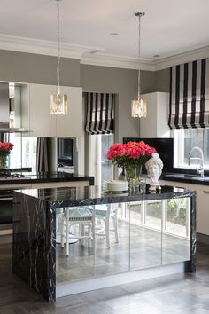 striped roman shades kitchen decor black marble