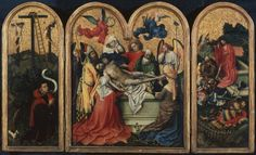 The Seilern Triptych - The Entombment, c. 1425, by Robert Campin (c. 1375 – 26 April 1444, usually identified as the artist known as the Master of Flémalle, Flemish)