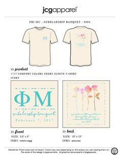 JCG Apparel : Custom Printed Apparel : Phi Mu Scholarship Banquet T-Shirt #phimu #scholarship #banquet #watercolor #roses
