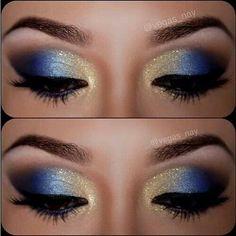 Gold/ blue eyeshadow