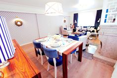 white-blue dining table