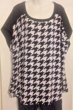 Lane Bryan Size 22/24 Tunic Black White BUTTON Back Houndstooth BLOUSE NWT$54.95 #LaneBryant #Tunic #Career