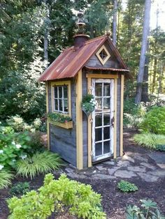 Very cool recycled garden shed Outdoor Buildings, Garden Buildings, Garden Structures, Backyard Sheds, Outdoor Sheds, Backyard Landscaping, Garden Sheds, Small Garden Tool Shed, Garden Tool Storage