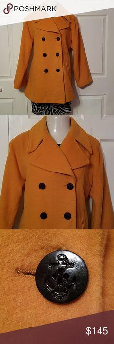 fab515da5d41b Canary Yellow Wool Pea Coat plus size 16