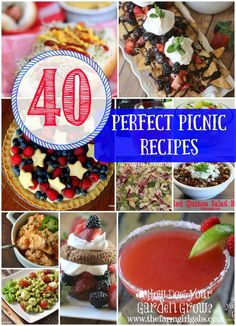 40 Perfect Picnic Recipes for Memorial Day, 4th of July or any summer party. Great recipes from bloggers across the web.