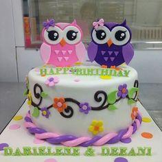 Owl cake, one tier, white, pink purple green. Cute!