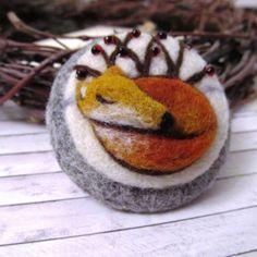 Custom fox portrait Needle felted brooch Wool by FeltAccessories