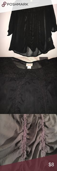 Sheer black shirt Sheer black 3/4 sleeve shirt. Knit details at the top and flowing to the sleeves, with two knit vertical lines that give it a flowy look. Tiny stain towards the bottom on the knitting. Body: 100% polyester. Front top/ sleeve upside: 63% cotton 23% nylon 14% rayon Mossimo Supply Co Tops Blouses