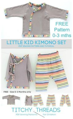 FREE sewing pattern for baby Kimono and pants set. Ideal to use as baby pyjamas but smart enough to wear out too. Cute free baby sewing pattern. Baby jacket and pants set free sewing pattern. Baby sleep suit sewing pattern. Free sewing pattern for baby clothes. #SewingForFree #SewForFree #QuickSewingPattern #EasySewingPattern #SimpleSewingPattern #SewingForBabies #FreeSewingPattern #FreeBabyPattern #FreeBabyClothesSewingPattern Sewing Baby Clothes, Baby Clothes Patterns, Baby Sewing, Free Sewing, Kimono Sewing Pattern, Pajama Pattern, Baby Outfits, Kids Outfits, Free Baby Patterns