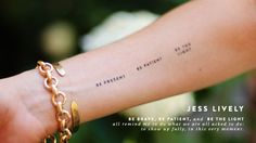 """Be present. Be patient. Be the light."" #text #quote #tattoo"