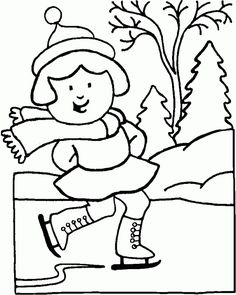 A Girl Happily Ice Skating On Frozen Lake In Winter Coloring Page