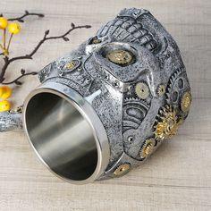 3D Skull Mugs Double Wall Stainless Steel Coffee Tea Bottle Mug Skull Mechanical Gears Drinking Cup. Click visit to buy #Mug
