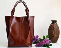 Leather Handbag, Shopperbag - 100% Leather Bag, Genuine Leather Bag, handmade in Poland, A4 size, COLOR: Cognac Brown