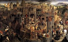Hans Memling, Scenes from the Passion of Christ, c. 1470, commissioned by Tommaso Portinari. Christ's Passion simultaneous narrative (like Corpus Christi plays), beginning with his entry into Jerusalem at the upper left and concluding with his appearance to the apostles on the Sea of Tiberias at the upper right. Tommaso appears at the lower left next to Judas's betrayal in Gethsemane; at the right, Tommaso's wife witnesses Christ's suffering on the road to Calvary. Galleria Sabauda, Turin.