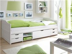 Kojenbett Marlies Massivholz 90 x 200 cm, Kiefer massiv weiss lackiert - Einzelbett Marlies sorgt, dank großzügigem Stauraum, für mehr Ordnung im Schlaf- oder Kinderzimmer.