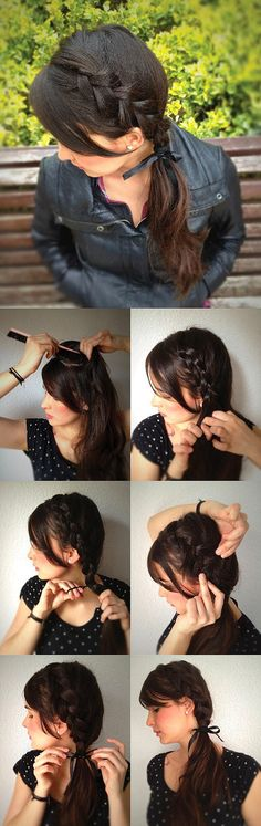 Cute side French braid into a ponytail