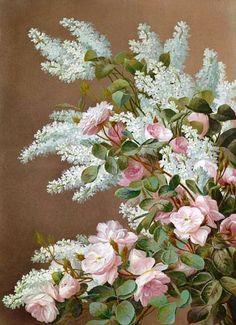 Raoul de Longpre -  'Rosas y Lirios Blancos'  Siglo 19