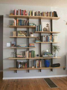 45 Comfy Bookshelves Design Enhance Beauty Family Room - Page 28 of 47 Diy Bookshelf Design, Handmade Bookshelves, Cheap Bookshelves, Floating Bookshelves, Floating Shelves Diy, Living Room Bookshelves, Office Bookshelves, Modern Bookshelf, Bookshelf Ideas