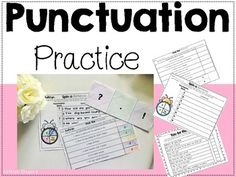 Here you will find activities & literacy center supplements to use whether you're introducing punctuation or reviewing it with your students! In this download you will receive... - Pick the Punctuation Activity pages for students to cut & paste the correct punctuation - Spin a Sentence Activity page (Great for