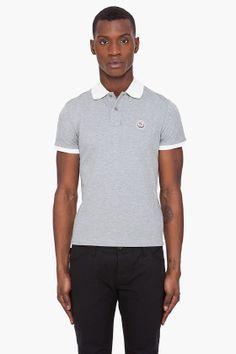 #Moncler #grey contrast collar #polo #menswear #clothing @SSense $175