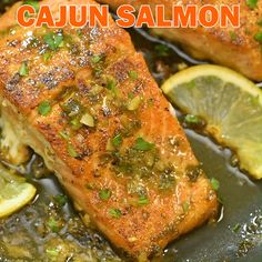 salmon recipes This Cajun Salmon recipe is a true delight. The pan-seared, Cajun-seasoned salmon covered with garlic-butter sauce is simple, elegant, and delicious. Are you in I thought so! You wont regret it. Cajun Recipes, Seafood Recipes, Chicken Recipes, Dinner Recipes, Cooking Recipes, Italian Fish Recipes, Catfish Recipes, Trout Recipes, Drink Recipes
