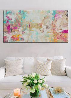 Abstrakte Aqua Lachs Drucken aus Malerei große von BuyWallArt