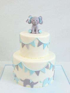Elephants and Banners Birthday Cake Images