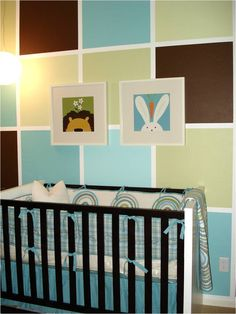 """""""The blocks were created by using 1.75″ painters tape for the grid and are approx 24″x24″. The wall is a great decor idea and not just for a kids' room"""