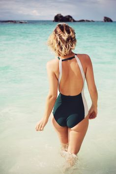 Rocking the most flattering new swim line in Bermuda's crystal waters.