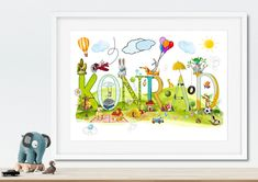 Children's Room Decor – Personalised Name Print,  Customisable Art for Kid – a unique product by NanettoDesign on DaWanda