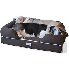 Dog Bed Pillows - PetFusion Ultimate Solid 4 Memory Foam Dog Bed for Medium  Large Dogs 36x28x9 orthopedic sofa couch Brown  Replacement covers  blankets also avail ** Click image for more details. (This is an Amazon affiliate link)