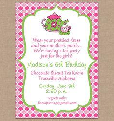 Girl Invitation High Tea Bunting Birthday Party