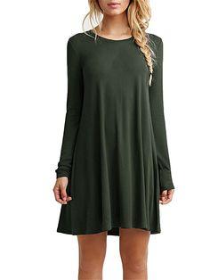 Women's Plain Cute Simple Tshirt Dress (S, Green)