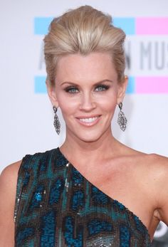 Jenny McCarthys blonde, updo hairstyle