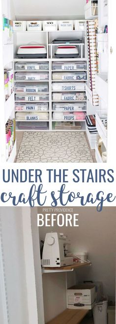 Easy Crock-Pot Ranch Potatoes This under stairs storage closet has been transformed into craft storage heaven! This is the craft closet of my dreams, with tons of organization ideas. Vinyl storage, ribbon storage, scrapbook paper storage, and more! Craft Closet Organization, Do It Yourself Organization, Craft Room Storage, Bedroom Storage, Organization Ideas, Organize Craft Closet, Organizing, Kitchen Storage, Vinyl Storage