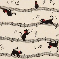 light blue Cosmo cat fabric with musical notes from Japan - Kitties! I Love Cats, Crazy Cats, Cute Cats, Boutique Kawaii, Grand Chat, Gatos Cats, Cats Musical, Cat Fabric, Cat Wallpaper