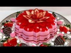 Gelatina San Valentin❤️💖 de Fresa y 3 leches - YouTube Gelatin Recipes, Jello Recipes, Easy Baking Recipes, Dessert Recipes, Cooking Recipes, Jello Cake, Jello Desserts, Baby Shower Sheet Cakes, Easy Meals