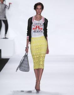 """Rebecca Minkoff Look 3: Mesh Stitch Track Jacket in Black """"Let's Go To Mexico"""" T-Shirt Palacio Lace Angelica Skirt in Sun"""