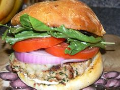 Turkey Burger with Red Onion, Heirloom Tomato, and Spring Greens | Yelp