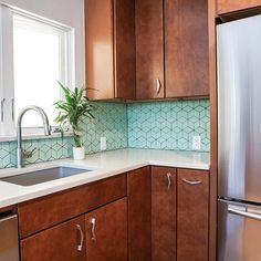Crisp, refreshing and spicy, Ashley Christensen of TVL Creative in Denver, CO designed this colorful kitchen with 530 Cherry Spice. #waypointlivingspaces #kitchencabinets #kitchenremodel #colorfulallure #CherrySpice @tvlcreative Kitchen Room Design, Kitchen Colors, Kitchen Ideas, Terrazzo, Fireclay Tile, Mid Century Modern Kitchen, Cherry Cabinets, Brick Tiles, Co Design