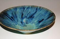 Pottery Bowls with Blue/Green Glazes by nhfinestoneware on Etsy, $79.95