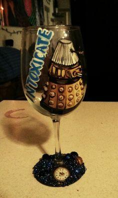Dalek hand painted wine glass by Kristen Allen