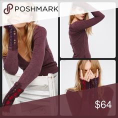 New Free People Thermal Nwt Free People Thermal in wine color . Cuff detailing signature Free People style : Free People Sweaters