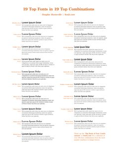 19 Top Fonts In 19 Top Combinations Chart