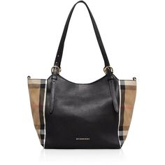 Burberry Small Canterbury House Check Horseshoe Tote ($1,250) ❤ liked on Polyvore featuring bags, handbags, tote bags, tote purses, handbags totes, canvas handbags, tote bag purse and tote handbags