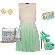 """mint dress"" by silviagomez on Polyvore"
