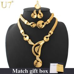 U7 Yellow Gold Plated Bridal Jewelry Set (Necklace Bracelet Earrings Ring) //Price: $58.28 & FREE Shipping //