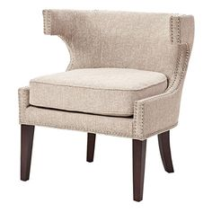 Madison Park Contemporary Cutout Arm Chair in Cream | Nebraska Furniture Mart