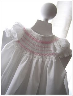 the smocking is quite deep for a bishop - and looks so lovely Smocking Plates, Smocking Patterns, Dress Patterns, Little Girl Dresses, Flower Girl Dresses, Punto Smok, Smocks, Heirloom Sewing, Fabric Manipulation